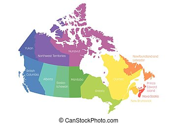 landkarte, von, kanada, geteilt, in, 10, provinzen, und, 3, territories., administrativ, gebiete, von, canada., mehrfarbig, landkarte, mit, labels., vektor, abbildung