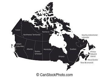 landkarte, von, kanada, geteilt, in, 10, provinzen, und, 3, territories., administrativ, gebiete, von, canada., grau, landkarte, mit, labels., vektor, abbildung