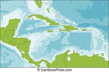 landkarte, von, karibisch
