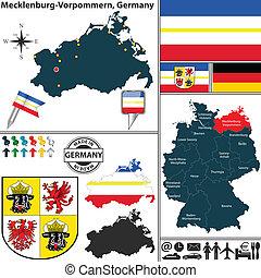 landkarte, von, mecklenburg-vorpommern, deutschland