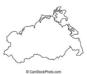 landkarte, von, mecklenburg-vorpommern