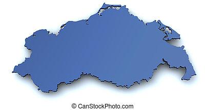 landkarte, von, mecklenburg, vorpommern, -germ