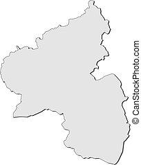 landkarte, von, rheinland-pfalz, (germany)