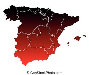 landkarte, von, spanien