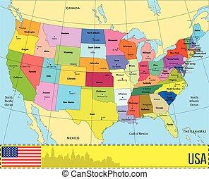 landkarte major st dte usa landkarte major vereinigte staaten vektor amerika st dte. Black Bedroom Furniture Sets. Home Design Ideas