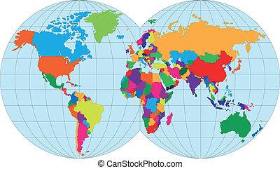 landkarte, von, welt