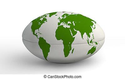 landkarte, weiße kugel, rugby, welt