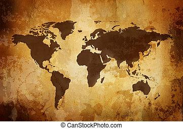 landkarte, weinlese