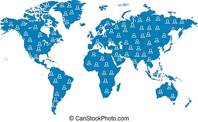 landkarte, welt, blaues