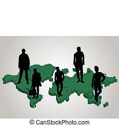 landkarte, welt, grünes geschäft, leute