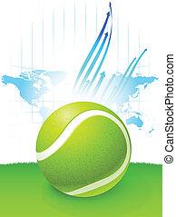 landkarte, welt, kugel, hintergrund, tennis