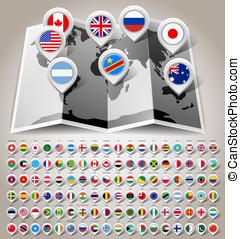 landkarte, welt, mit, flaggen