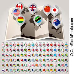 landkarte, welt, mit, flags., groß, papier, satz