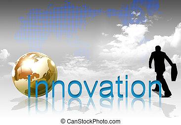 landkarte, welt, wort, hintergrund, innovation