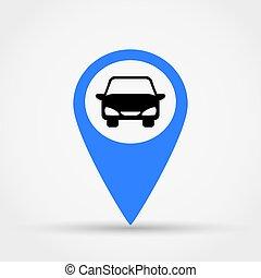 landkarte, zeiger, auto, vektor, icon.