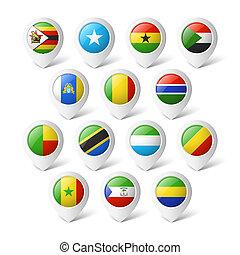 landkarte, zeiger, flags., afrika.