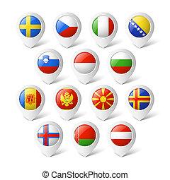landkarte, zeiger, flags., europe.
