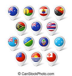 landkarte, zeiger, flags., oceania.