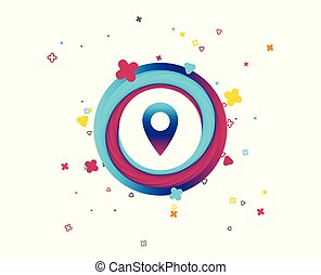 landkarte, zeiger, icon., gps, ort, symbol.