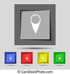 landkarte, zeiger, icon., gps, ort, symbol., satz, bunter , buttons., vektor