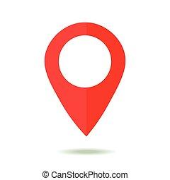 landkarte, zeiger, icon., gps, ort, symbol., wohnung, design, stil