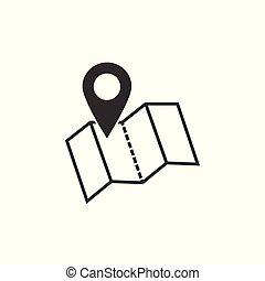 landkarte, zeiger, icon., gps, ort, symbol., wohnung, design., vektor, illustration.