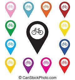 landkarte, zeiger, mit, fahrrad, icon.
