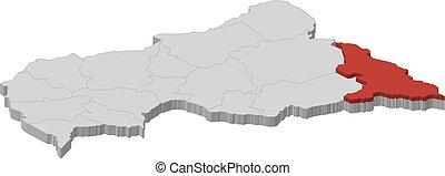 landkarte, zentral, haut-mbomou, -, republik, 3d-...