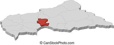 landkarte, zentral, kemo, -, republik, 3d-illustration, ...