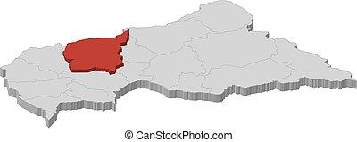 landkarte, zentral, ouham, -, republik, 3d-illustration, ...