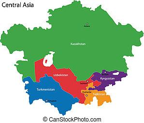 landkarte, zentrales asien