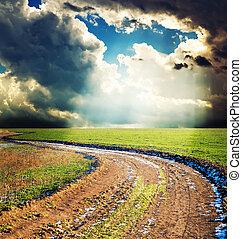 landlige, vej, under, dramatisk himmel