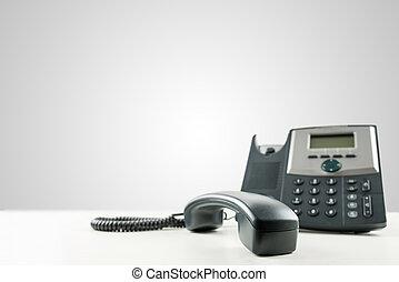 landline, téléphone, à, les, récepteur, off-hook