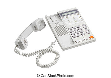 Landline telephone with push button dial on a light background