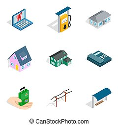 Landlord icons set, isometric style - Landlord icons set....