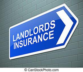 landlords, biztosítás, concept.