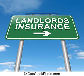 Landlords insurance concept. - Illustration depicting a sign...