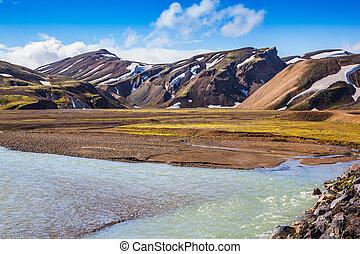 landmannalaugar, 夏, 国立公園, 洪水