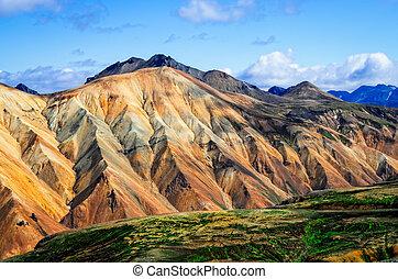 landmannalaugar, 鮮艷的山, 風景, 看法