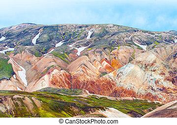 Landmannalaugar - Beautiful multicolored mountains at...