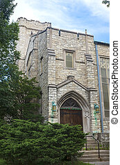 Landmark Church at Side Entrance in Milwaukee