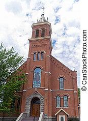Landmark Church in Buckman - historic landmark red brick...