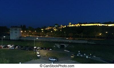 Landmark fortress in night