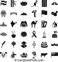 Landmark icons set, simple style