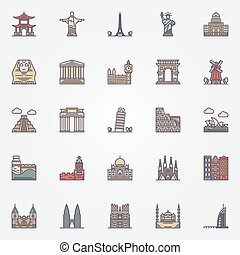 Landmark icons set - vector colorful travel symbol or signs