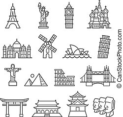 Landmark Icons. Statue of Liberty, Tower of Pisa, Eiffel Tower, Big Ben, Taj Mahal, Saint Basil's Cathedral, Christ The Redeemer, Windmill, Sydney Opera House, Piramid, Colosseum, London Bridge, Fushimi Inari Shrine, Forbidden City, Osaka Castle, Moai Statues.