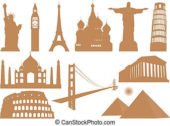 Landmark Icons. Vector illustration for you design