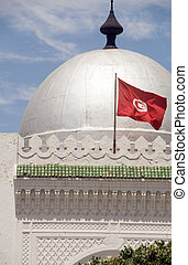 landmark large silver dome mosque Sousse Tunisia Africa with...
