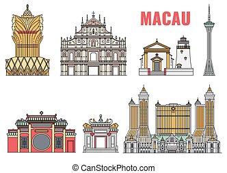 Landmark Macau building icon set isolated on white ...