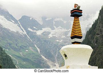 Landmark of a white stupa in Shangrila
